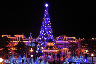 Christmas tree at night at Disneyland Paris
